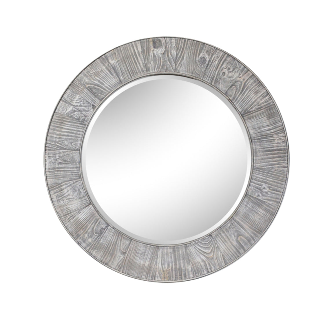 "27.5"" RUSTIC SOLID FIR MIRROR IN GREY DRIFTWOOD(ROUND)"