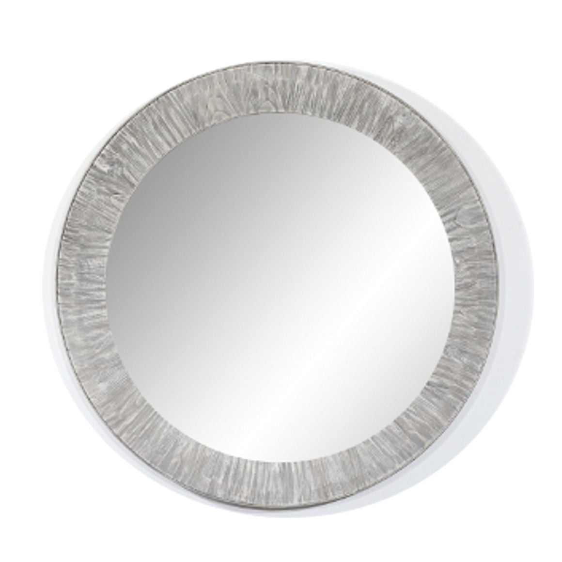 "35"" RUSTIC SOLID FIR MIRROR IN GREY DRIFTWOOD(ROUND)"