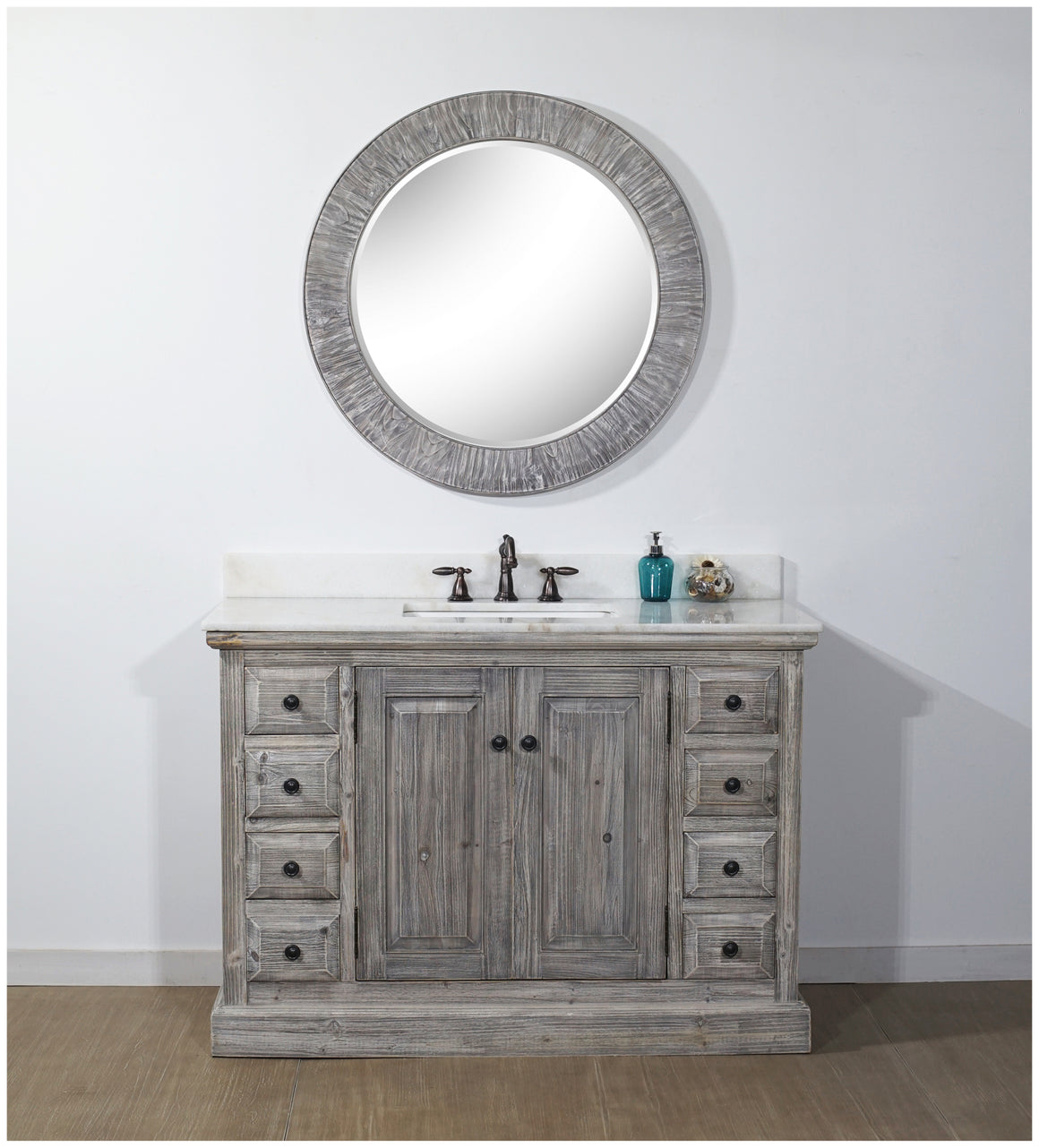 "48"" RUSTIC SOLID FIR SINGLE SINK VANITY IN GREY-DRIFTWOOD WITH ARCTIC PEARL QUARTZ MARBLE TOP-NO FAUCET"