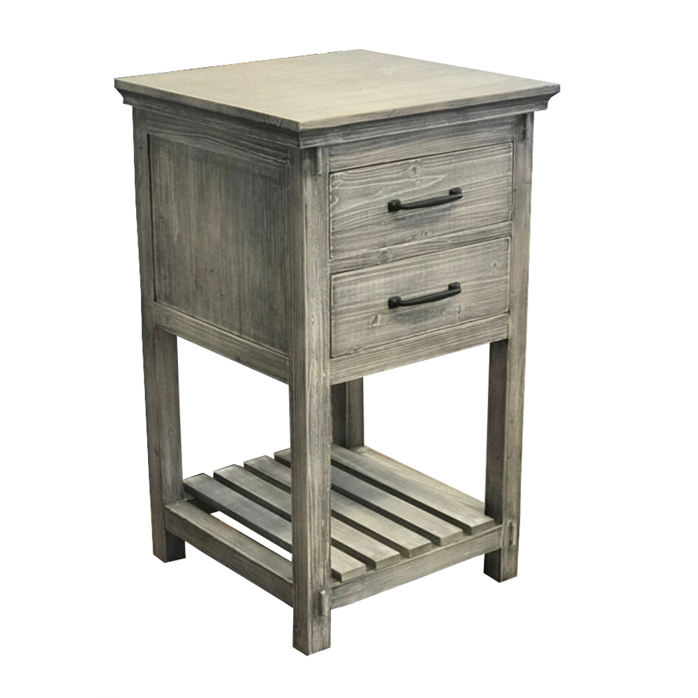 "35"" RUSTIC SOLID FIR SIDE CABINET IN GREY DRIFTWOOD"