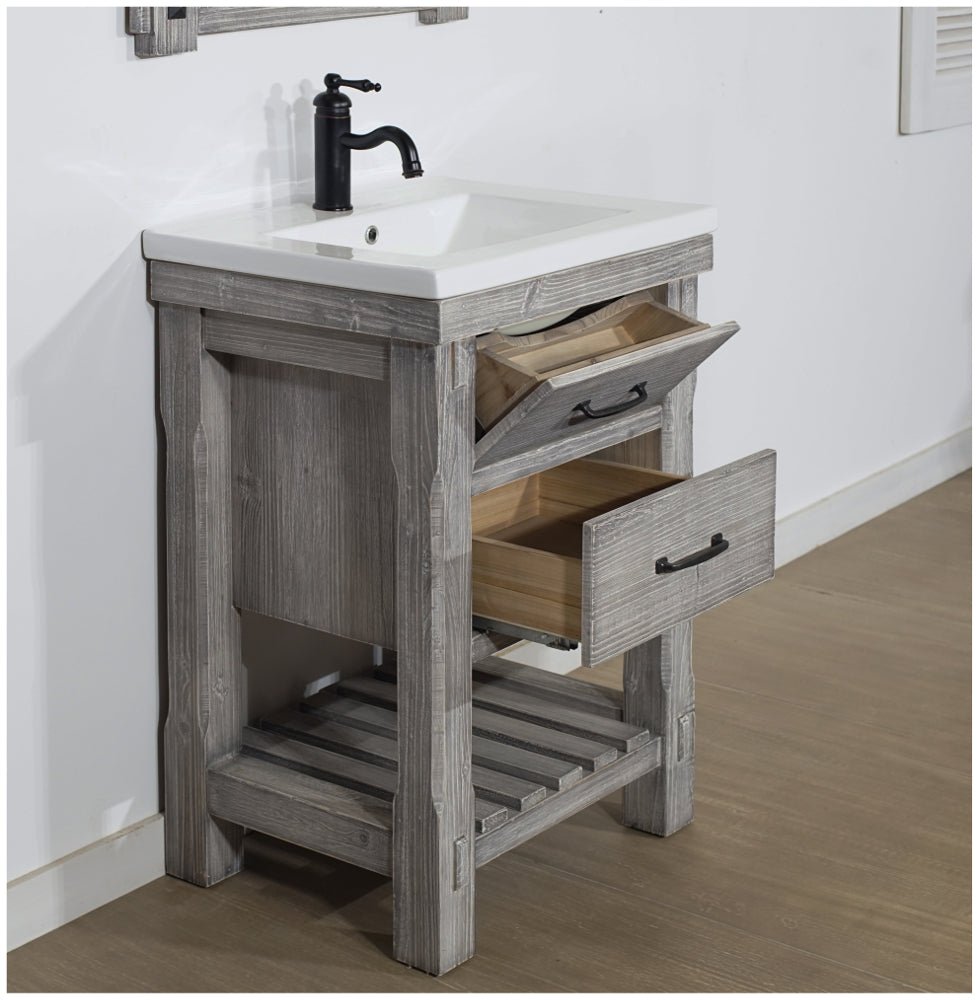 "24"" RUSTIC SOLID FIR VANITY WITH CERAMIC SINGLE SINK IN GREY DRIFTWOOD-NO FAUCET"