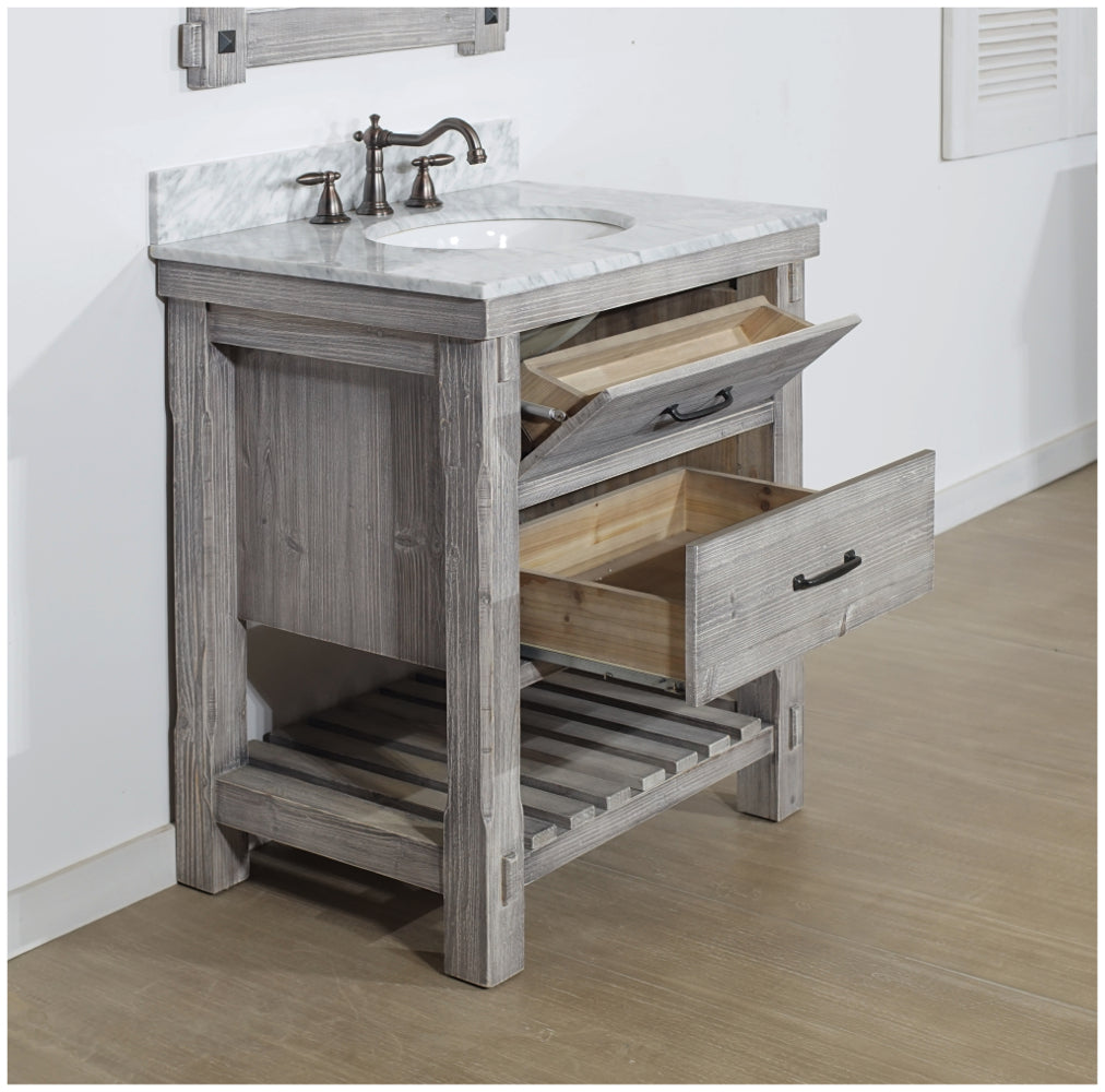 "30"" RUSTIC SOLID FIR SINGLE SINK VANITY IN GREY DRIFTWOOD WITH CARRARA WHITE MARBLE TOP-NO FAUCET"