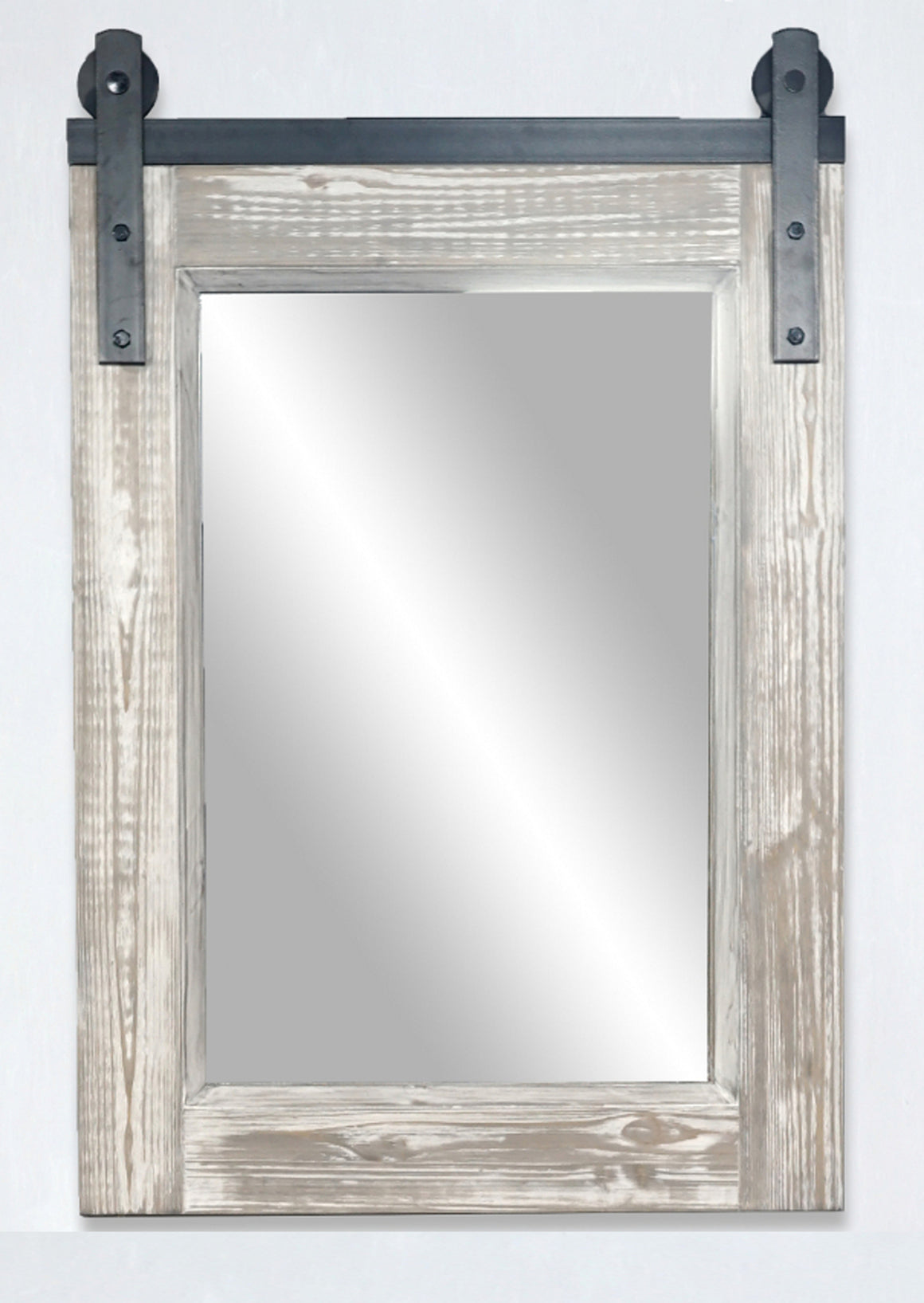 "26""RUSTIC SOLID FUR BARN DOOR STYLE MIRROR IN WHITE WASH(26.6"" W x 39"" H)"