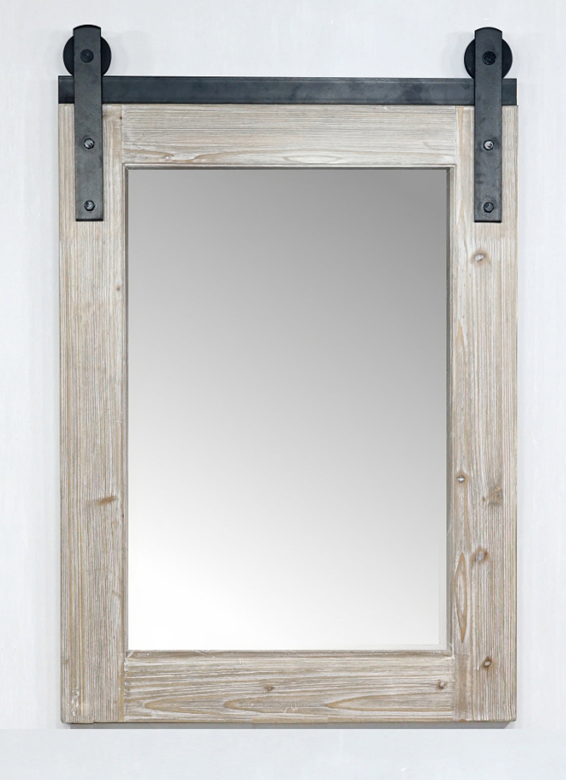 "26""RUSTIC SOLID FUR BARN DOOR STYLE MIRROR (26.6"" W x 39"" H)"