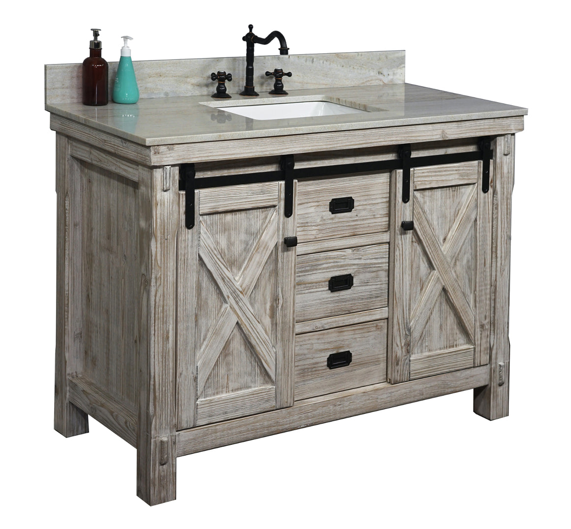 "48""RUSTIC SOLID FIR BARN DOOR STYLE SINGLE SINK VANITY IN WHITE WASH WITH COASTAL SANDS MARBLE TOP WITH RECTANGULAR SINK-NO FAUCET"