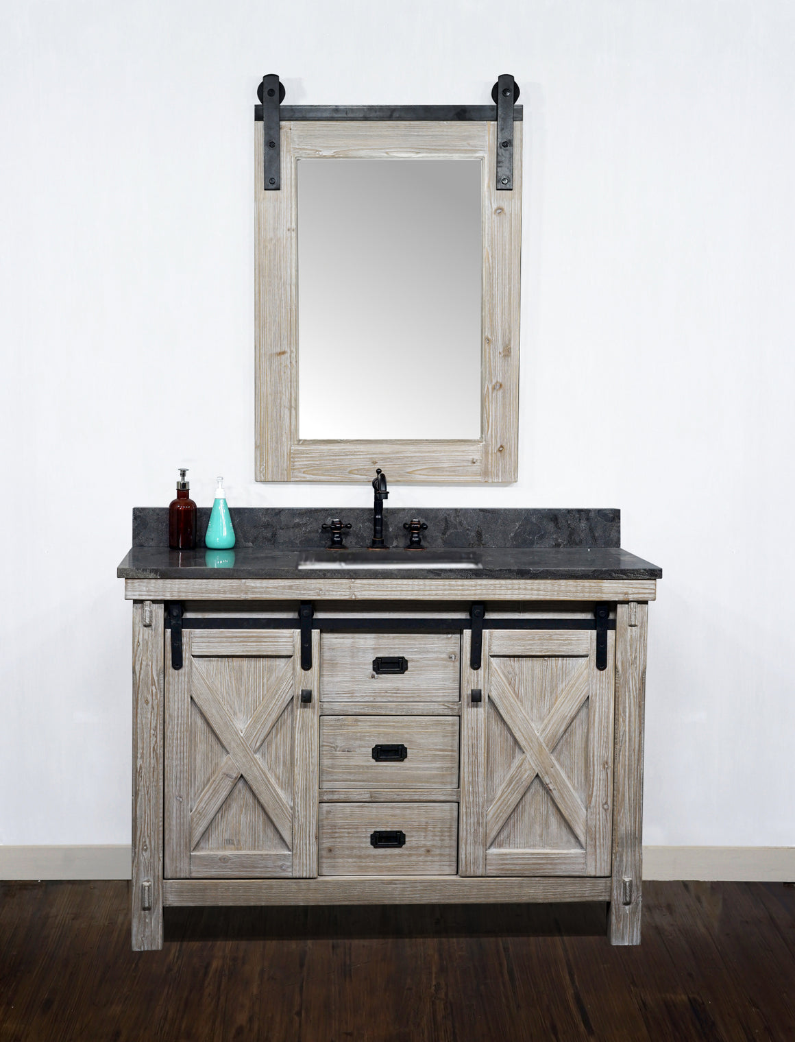 "48""RUSTIC SOLID FIR BARN DOOR STYLE SINGLE SINK VANITY WITH LIMESTONE TOP WITH RECTANGULAR SINK-NO FAUCET"
