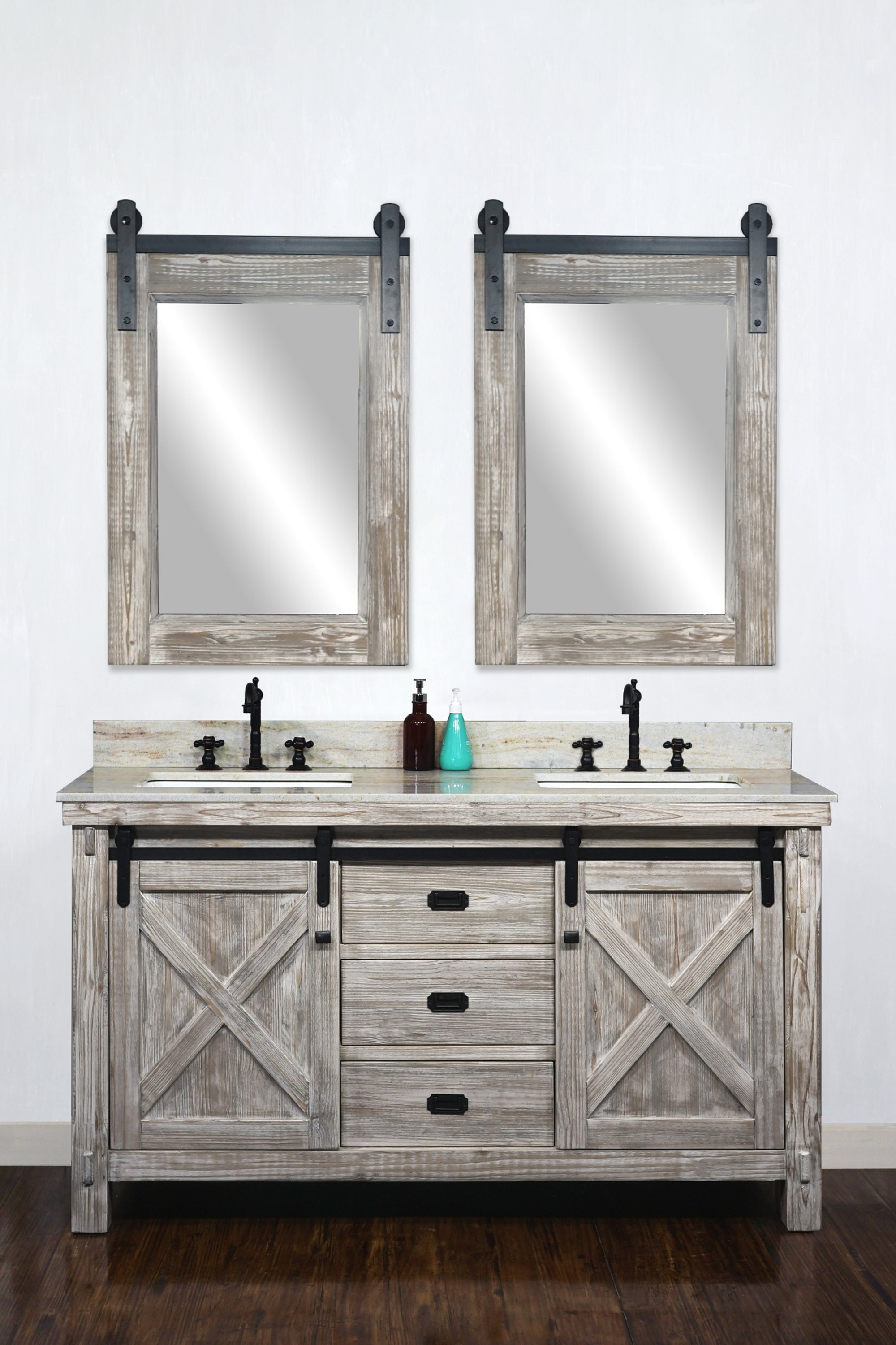 """15""""RUSTIC SOLID FIR BARN DOOR STYLE DOUBLE SINKS VANITY IN WHITE WASH WITH  COASTAL SANDS MARBLE TOP WITH RECTANGULAR SINK-NO FAUCET"""
