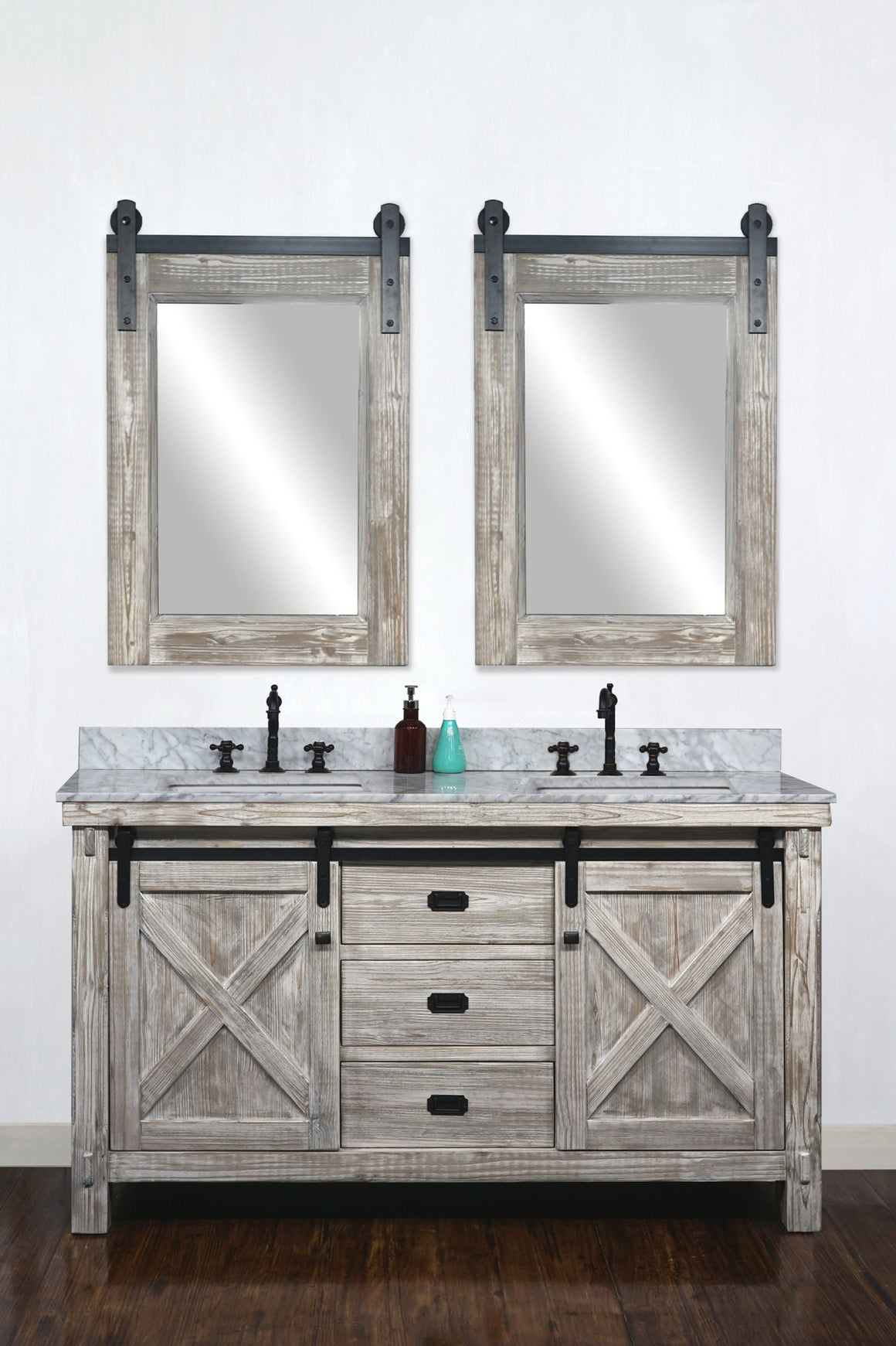 "60""RUSTIC SOLID FIR BARN DOOR STYLE DOUBLE SINKS VANITY IN WHITE WASH WITH CARRARA WHITE MARBLE TOP WITH RECTANGULAR SINK-NO FAUCET"
