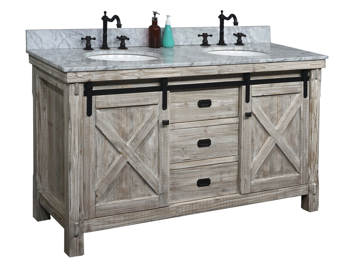 "60""RUSTIC SOLID FIR BARN DOOR STYLE DOUBLE SINKS VANITY IN WHITE WASH WITH CARRARA WHITE MARBLE TOP-NO FAUCET"