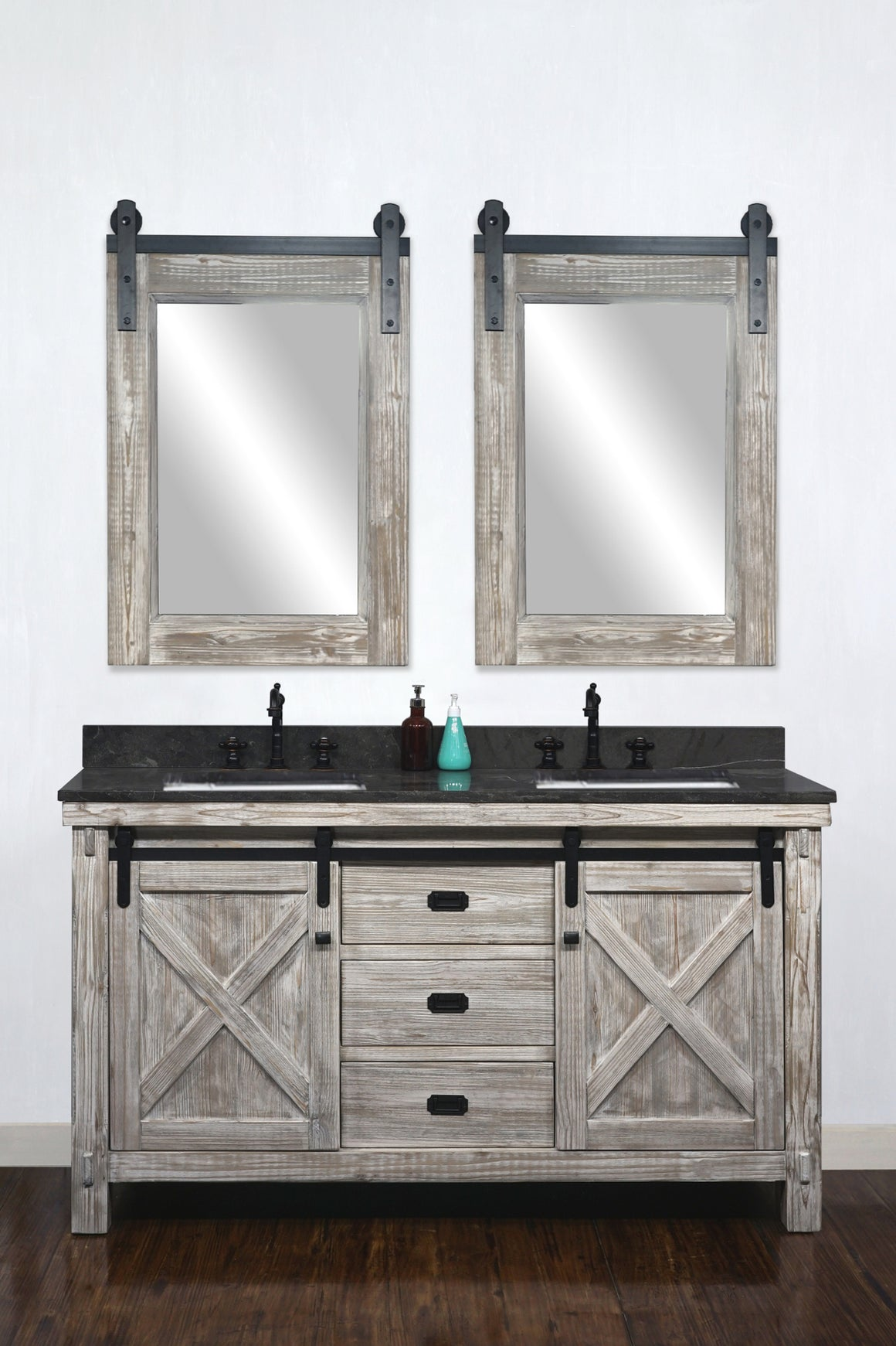"60""RUSTIC SOLID FIR BARN DOOR STYLE DOUBLE SINKS VANITY IN WHITE WASH WITH LIMESTONE TOP WITH RECTANGULAR SINK-NO FAUCET"