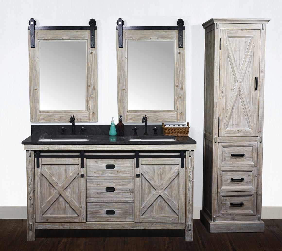 "60""RUSTIC SOLID FIR BARN DOOR STYLE DOUBLE SINKS VANITY WITH LIMESTONE TOP WITH RECTANGULAR SINK-NO FAUCET"