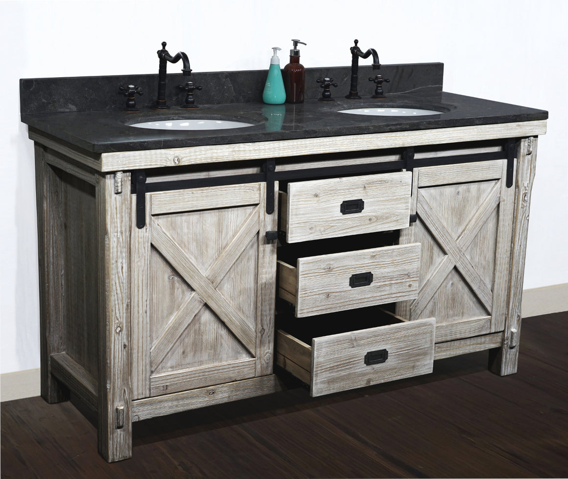 "60""RUSTIC SOLID FIR BARN DOOR STYLE DOUBLE SINKS VANITY WITH  LIMESTONE TOP(OVAL SINK)-NO FAUCET"