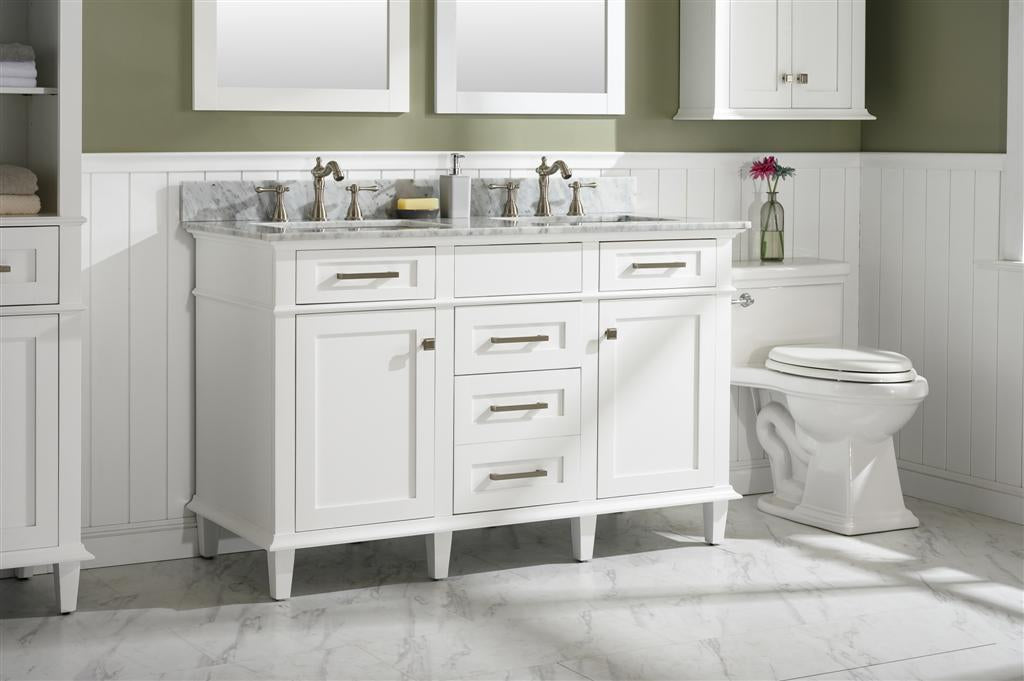 "54"" Haven Vanity with Double Sinks and Carrara Marble Top in White Finish"