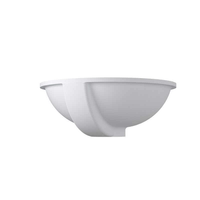 "20""x16""POLYSTONE  UNDERMOUNT ROUND SINK IN MATTE WHITE FINISH-NO FAUCET"