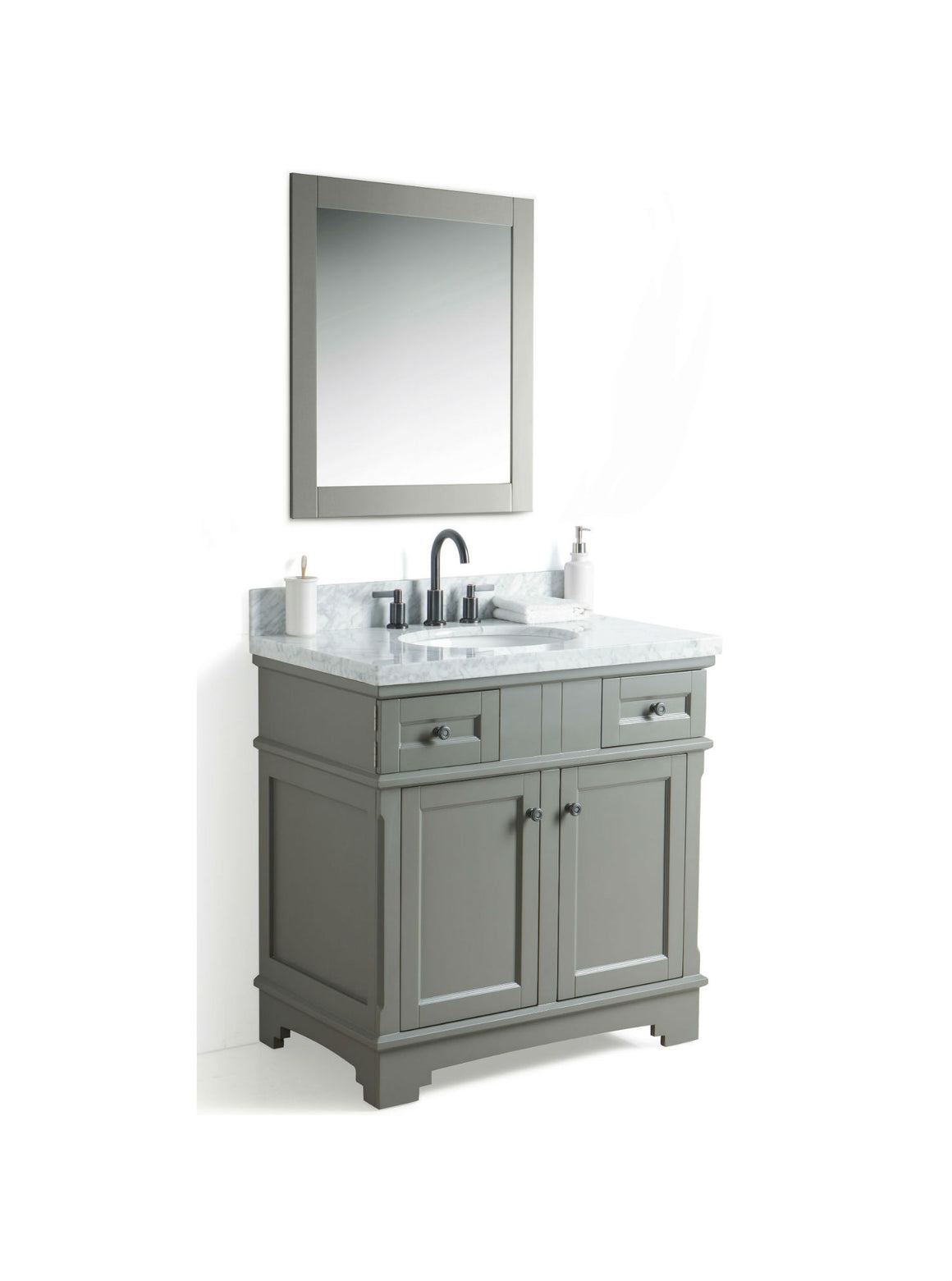 "36"" Grey Single Sink Bathroom Vanity with Marble Top"