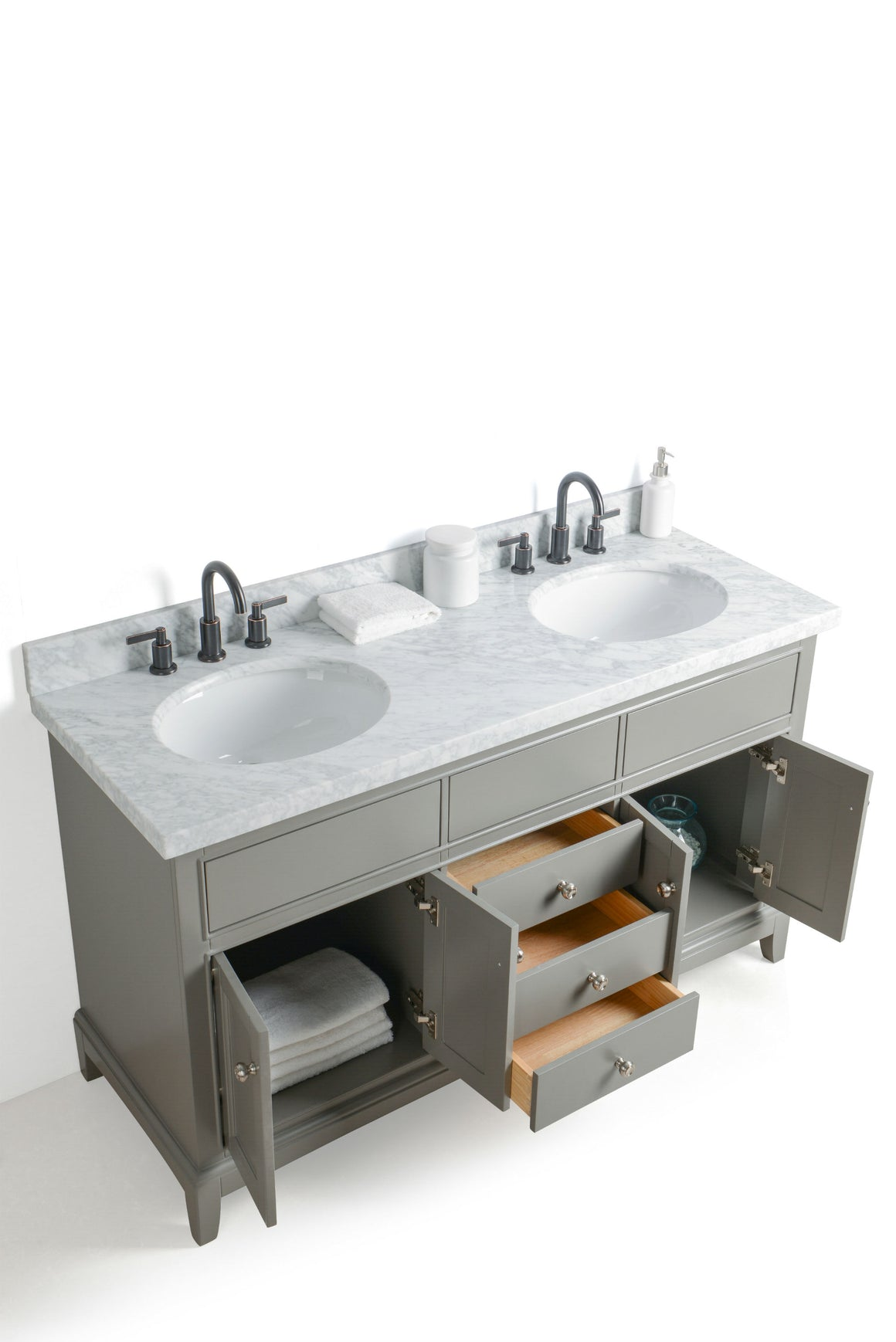 "60"" Grey Dual Sink Bathroom Vanity with Mirrors, Marble Top and Faucets"