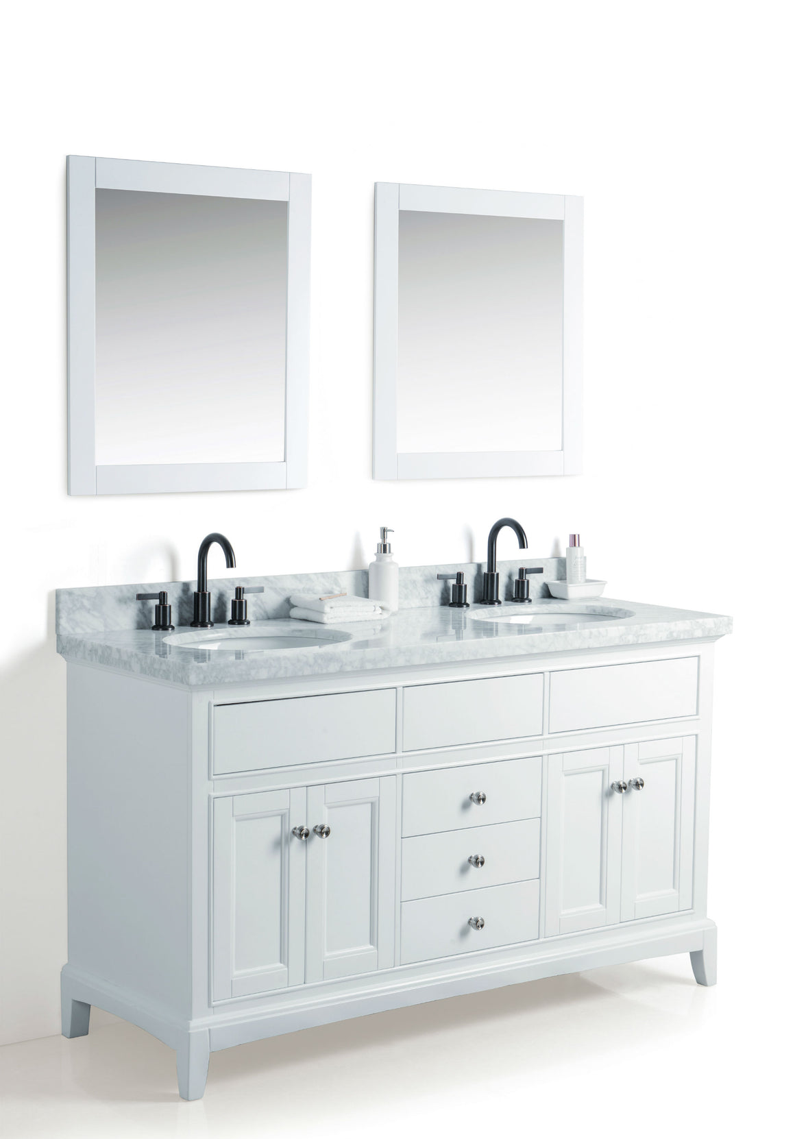 "60"" White Dual Sink Bathroom Vanity with Mirrors, Marble Top and Faucets"