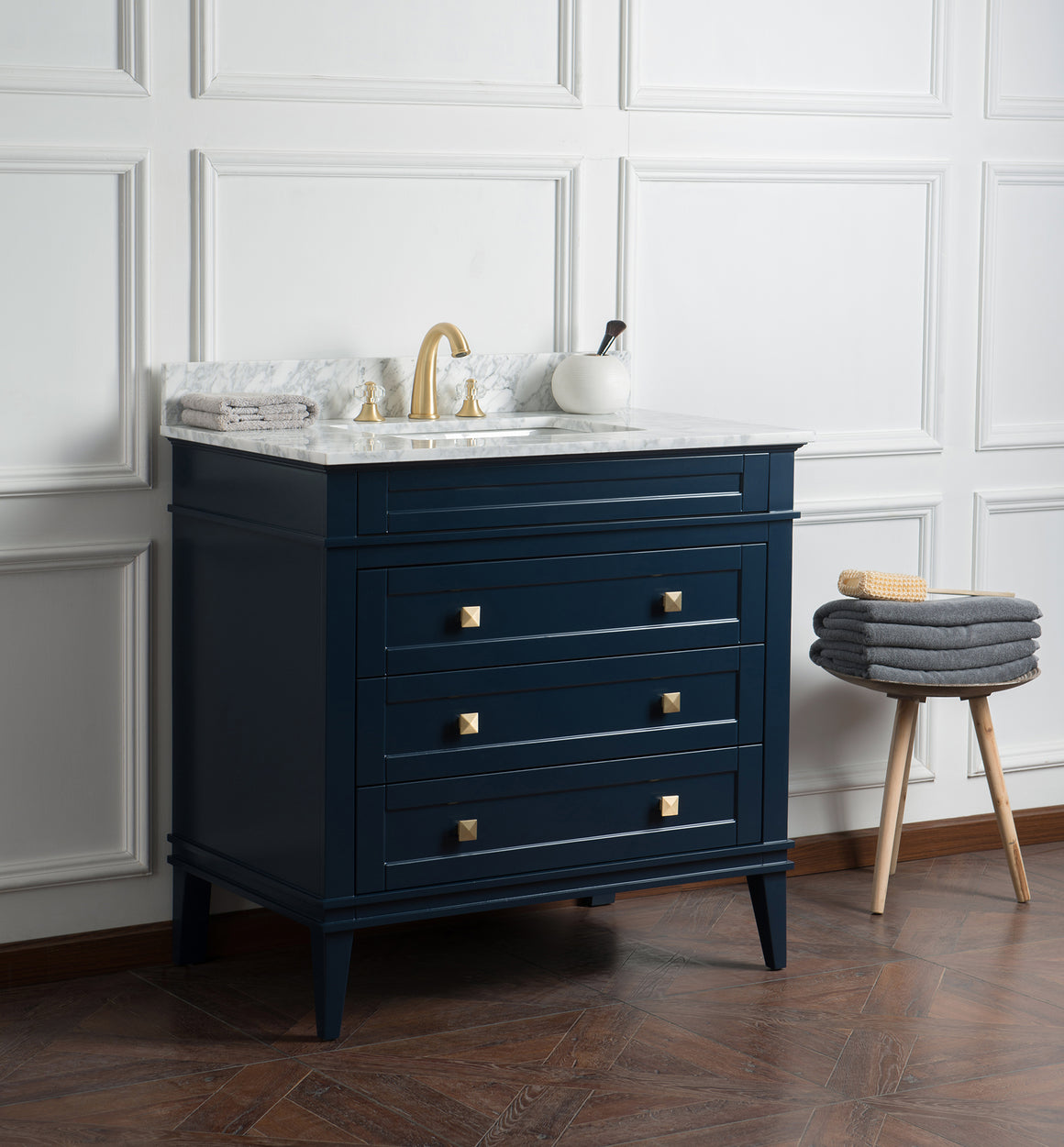 "Alex 36"" Single Bathroom Vanity Set in Blue"