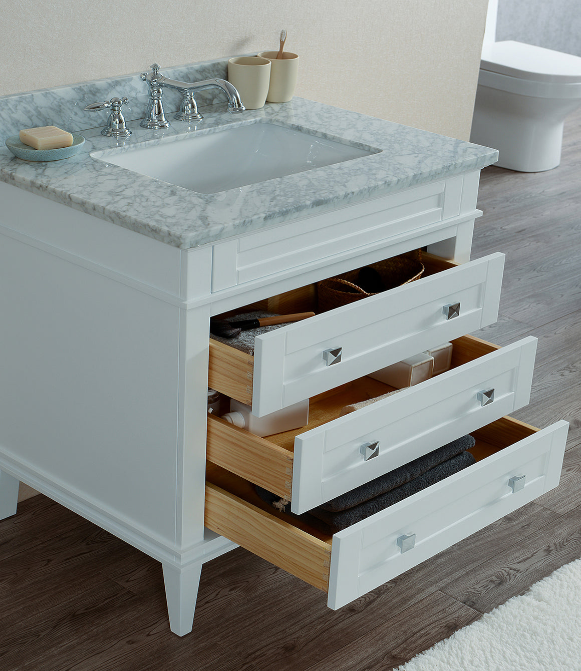 "Alex 36"" Single Bathroom Vanity Set in White"