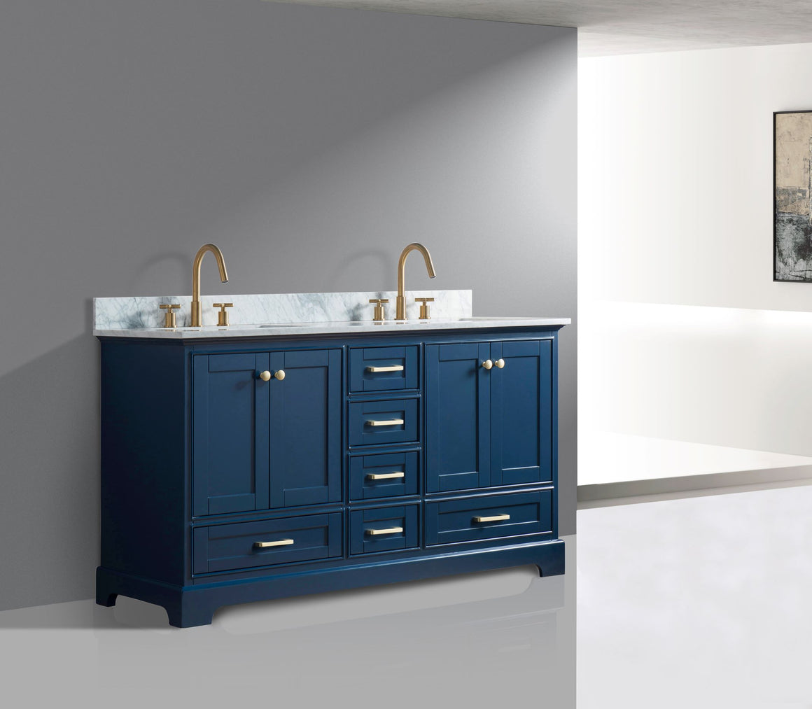 "Yazmin 60"" Double Bathroom Vanity Set in Blue"