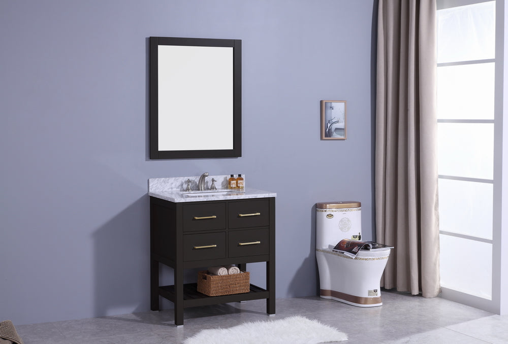 "30"" Estate Single Sink Bathroom Vanity in Espresso with Marble Top"