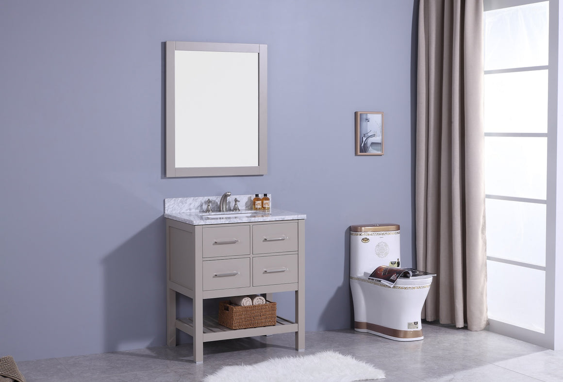 "30"" Estate Single Sink Bathroom Vanity in Warm Gray with Marble Top"