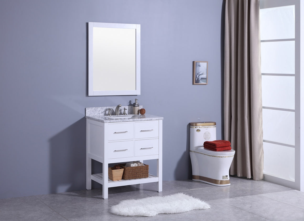 "30"" Estate Single Sink Bathroom Vanity in White with Marble Top"