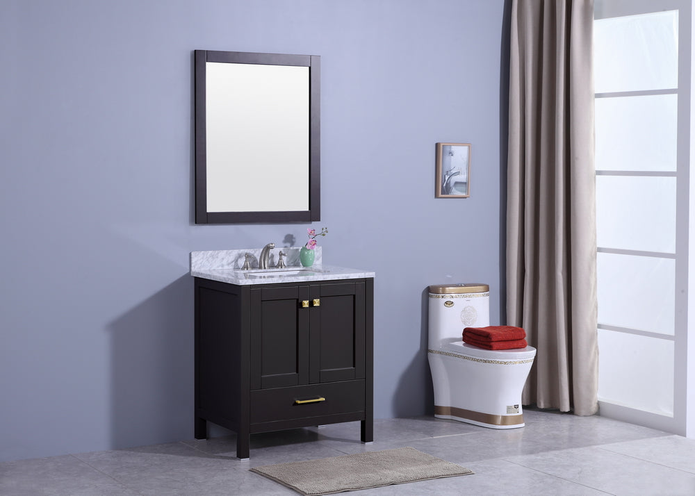 "30"" Porter Single Sink Bathroom Vanity in Espresso with Marble Top"