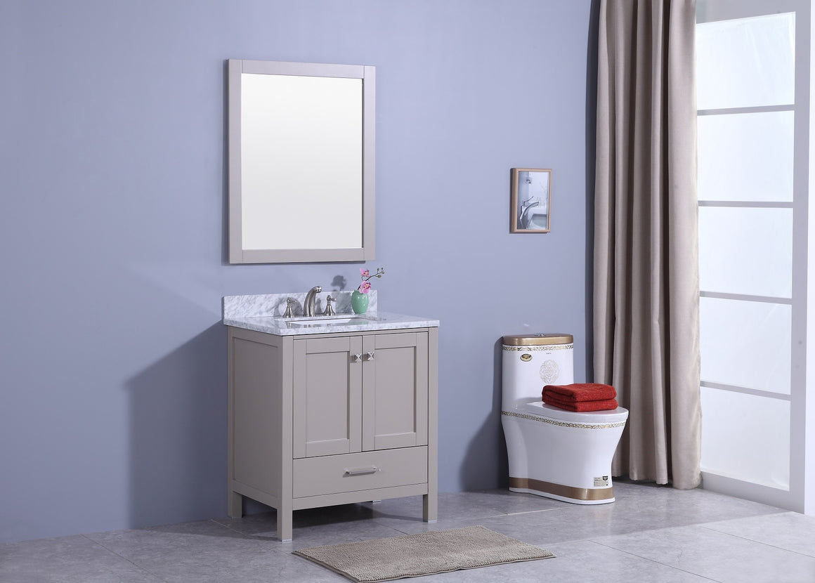 "30"" Porter Single Sink Bathroom Vanity in Warm Gray with Marble Top"
