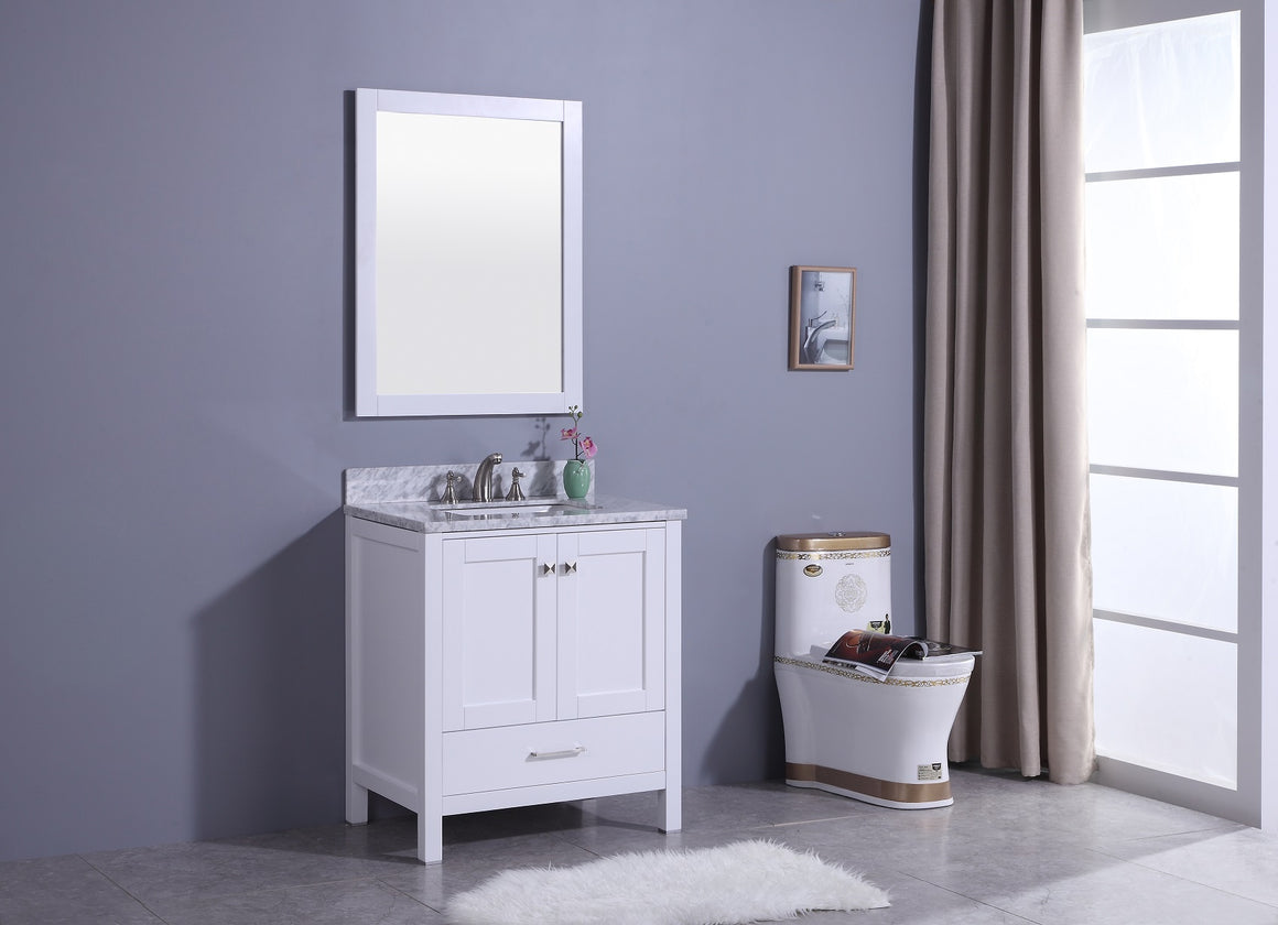 "30"" Porter Single Sink Bathroom Vanity in White with Marble Top"
