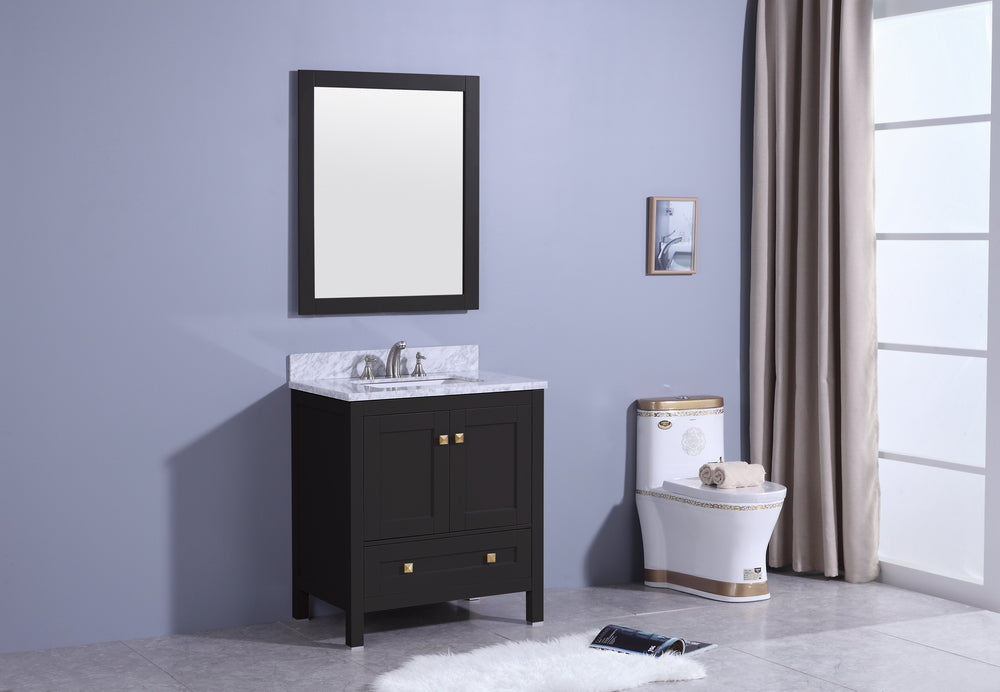 "30"" Katherine Single Sink Bathroom Vanity in Espresso with Marble Top"