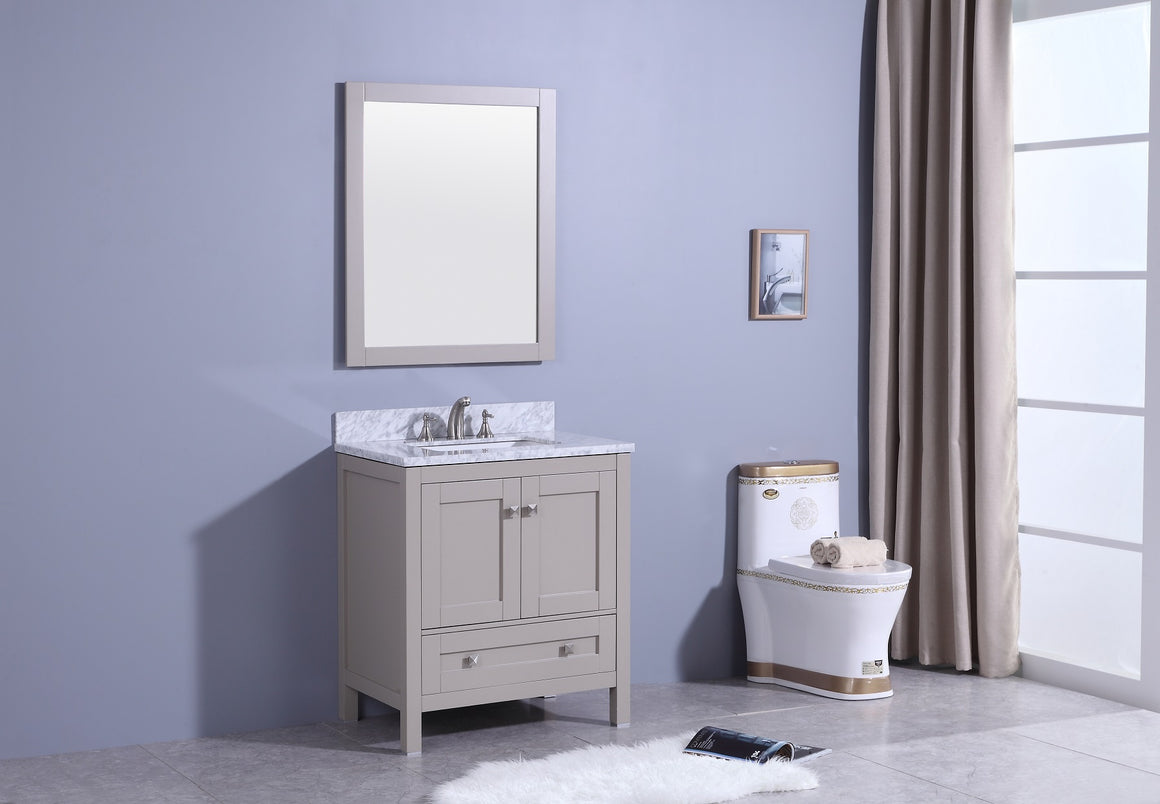 "30"" Katherine Single Sink Bathroom Vanity in Warm Gray with Marble Top"