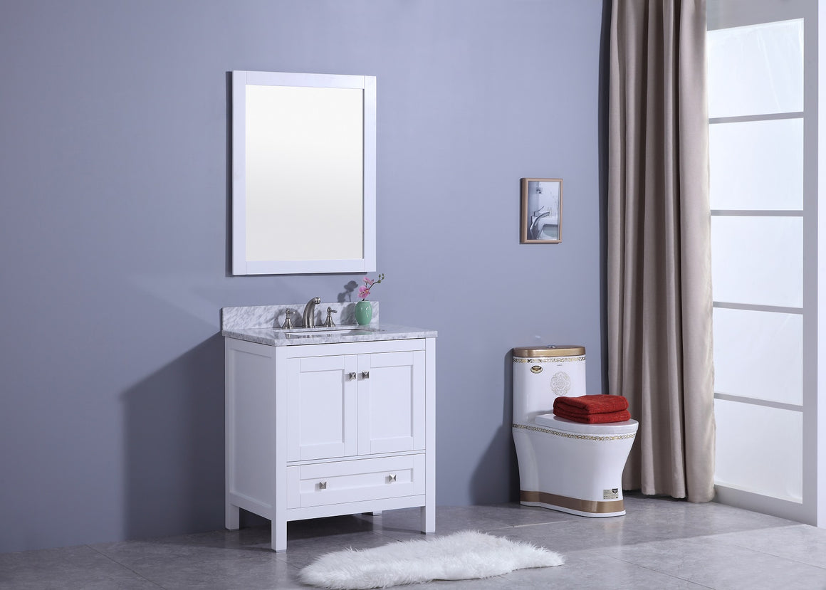 30' Katherine Single Sink Bathroom Vanity in White with Marble Top