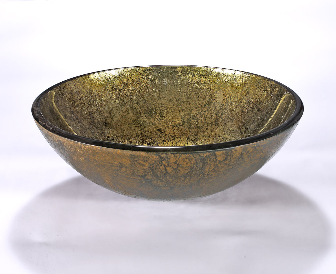 InFurniture ZA-1208 Glass Sink Bowl in Gold Foil