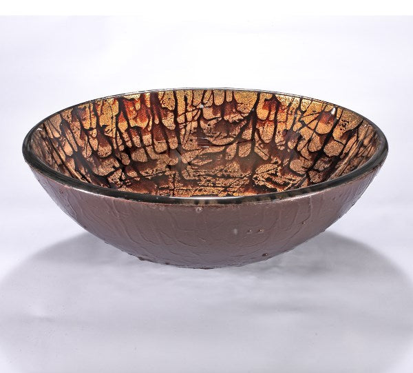 InFurniture ZA-1271 Glass Sink Bowl in Copper Mosaic