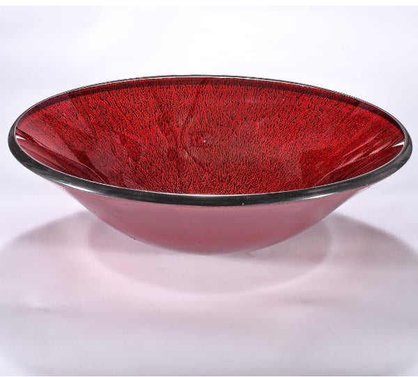 InFurniture ZA-1276 Glass Sink Bowl in Red