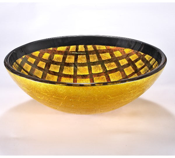 InFurniture ZA-1283 Glass Sink Bowl in Yellow/Copper Grid