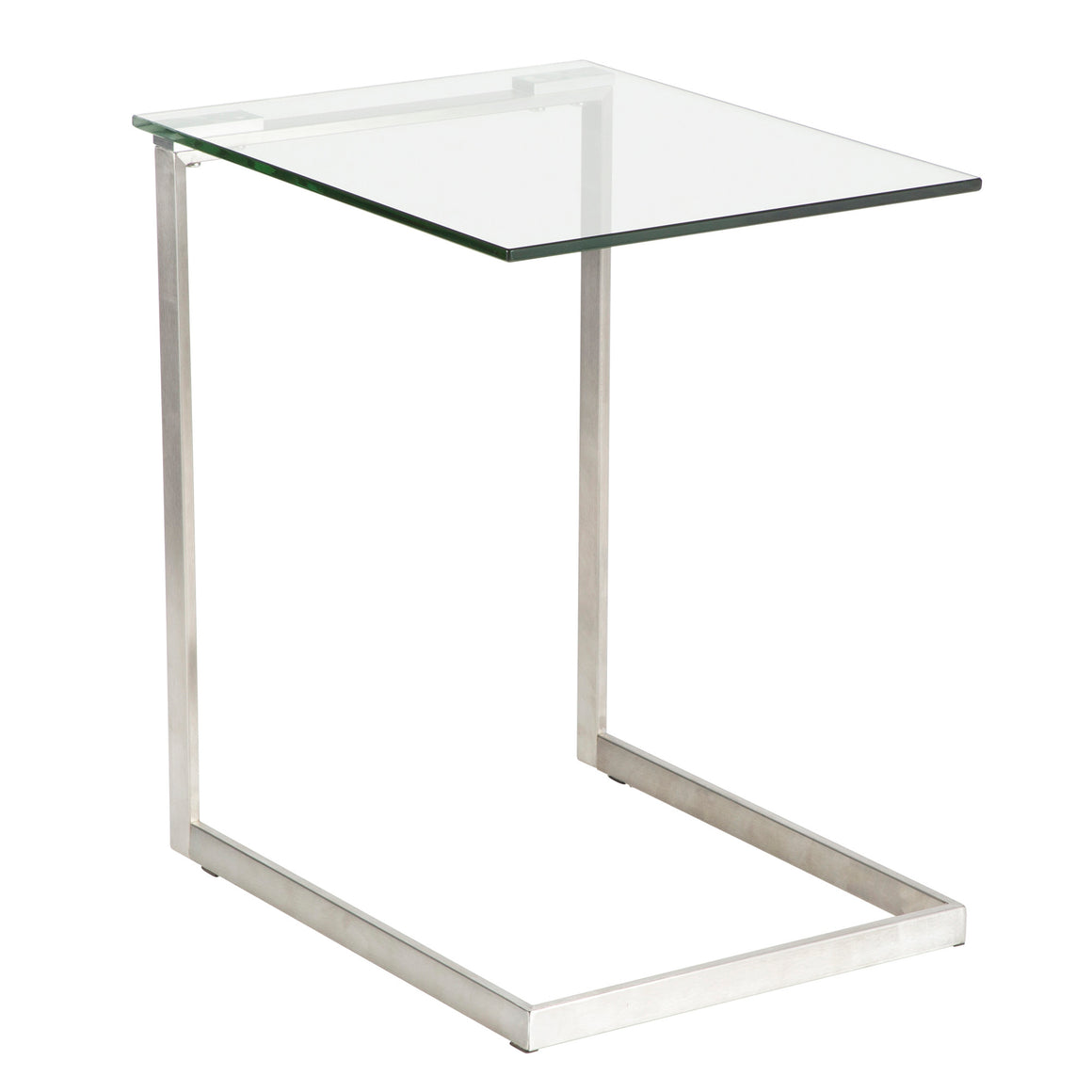 Zenn Contemporary End Table with Clear Glass by LumiSource
