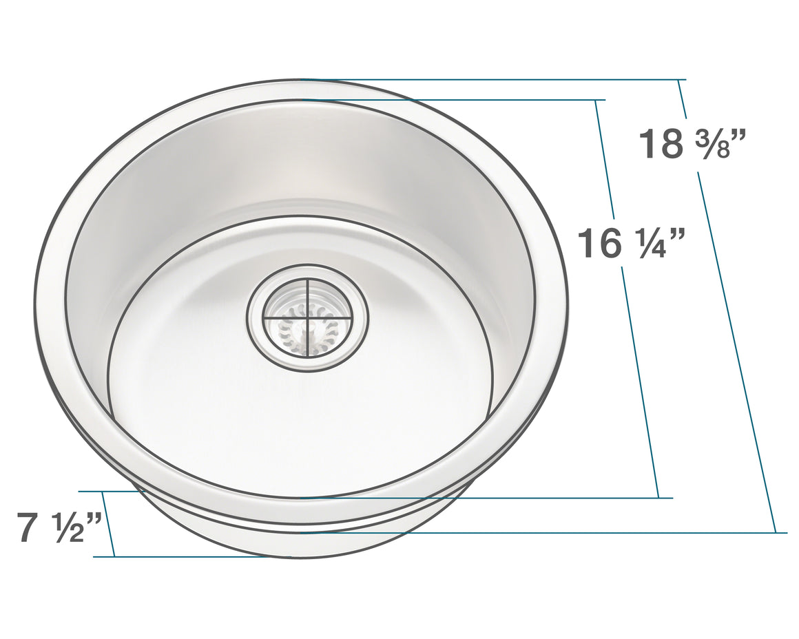 P564-16 Circular Stainless Steel Bar Sink