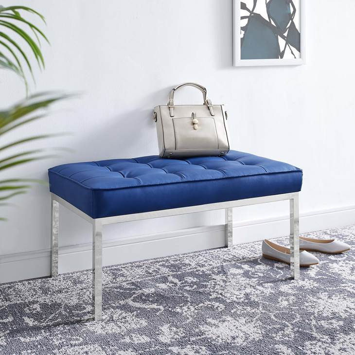 LOFT TUFTED MEDIUM UPHOLSTERED FAUX LEATHER BENCH
