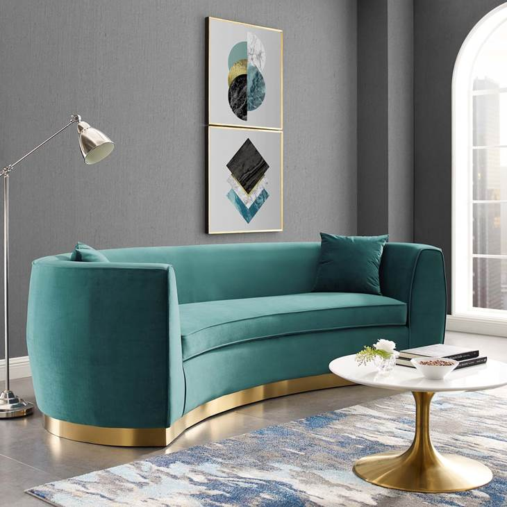 RESOLUTE CURVED PERFORMANCE VELVET SOFA