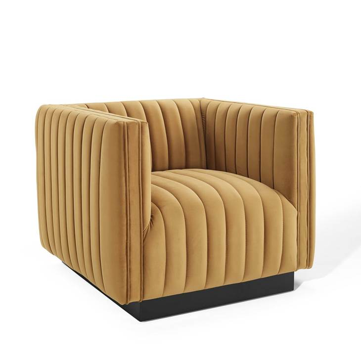CONJURE CHANNEL TUFTED PERFORMANCE VELVET ACCENT ARMCHAIR