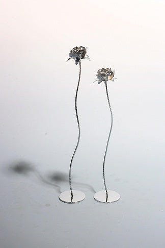 Bright Silver Flower Sculpture
