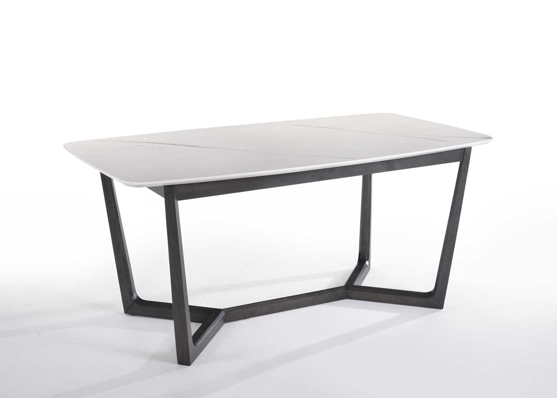 Modrest Evelyn Modern White Cultured Marble Dining Table