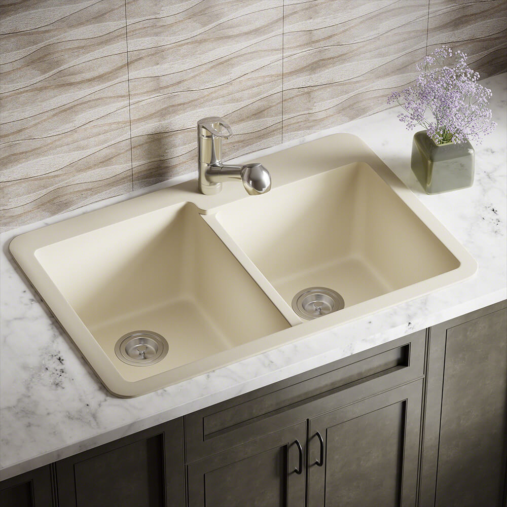 P108TBE Double Offset Bowl Topmount AstraGranite Sink