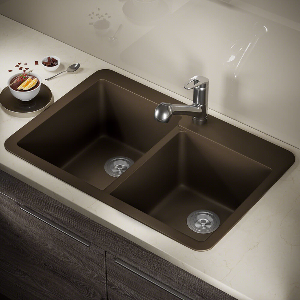 P108TM Double Offset Bowl Topmount AstraGranite Sink
