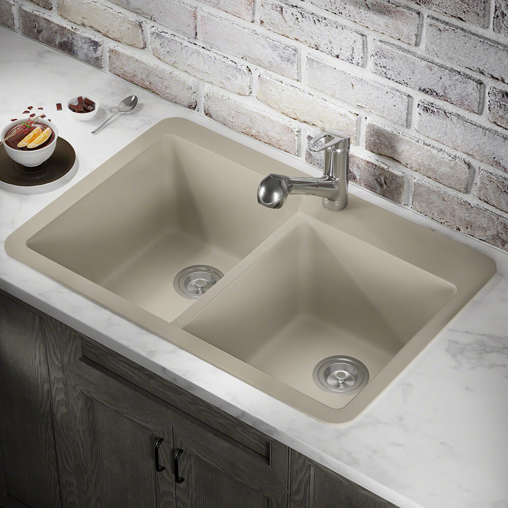 P108TST Double Offset Bowl Topmount AstraGranite Sink