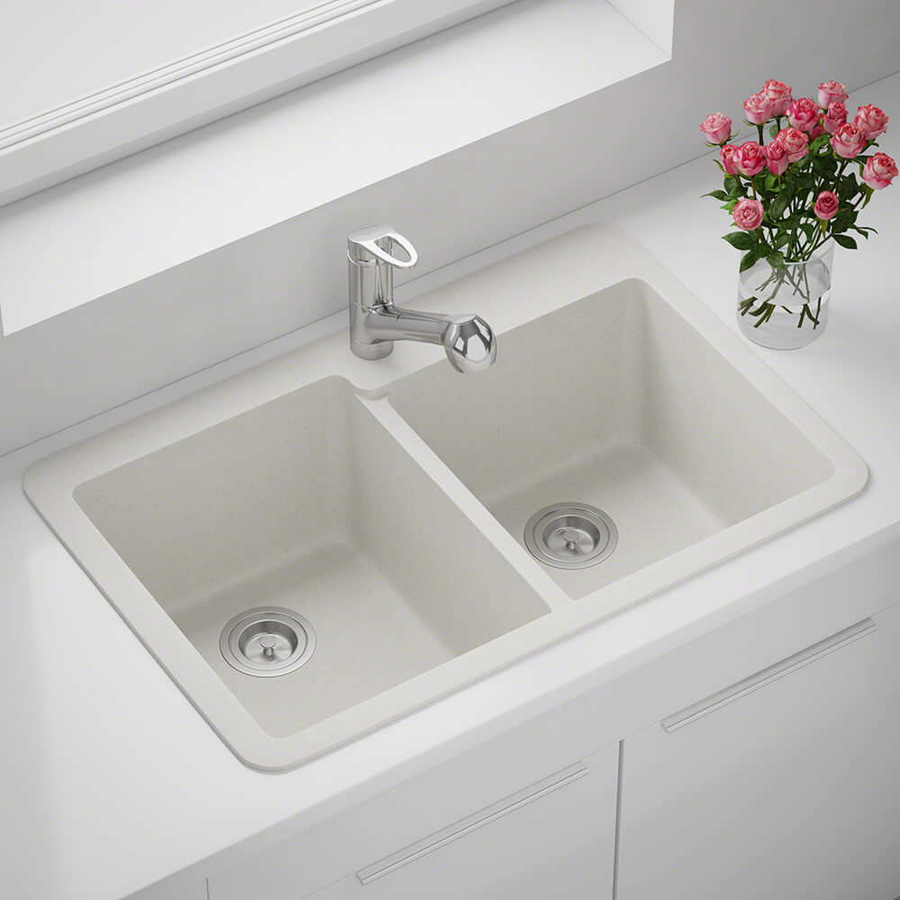P108TW Double Offset Bowl Topmount AstraGranite Sink