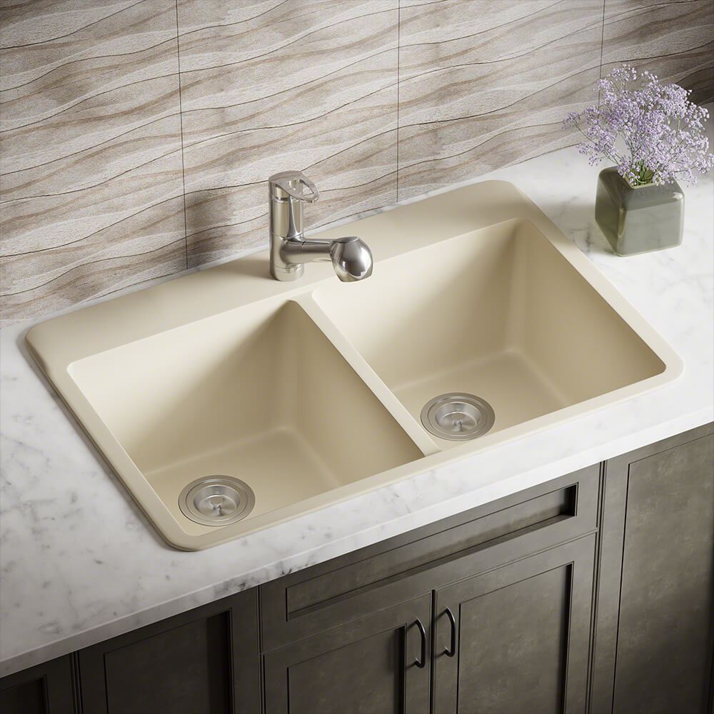 P208TBE Double Equal Bowl Topmount AstraGranite Sink