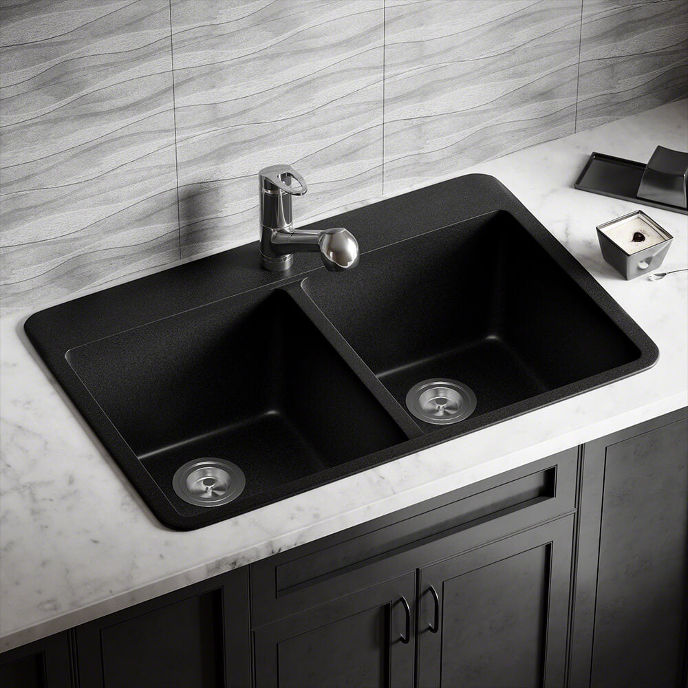P208TBL Double Equal Bowl Topmount AstraGranite Sink